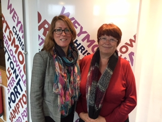 Susan with Professor Claire Foster at BBC Radio Solent
